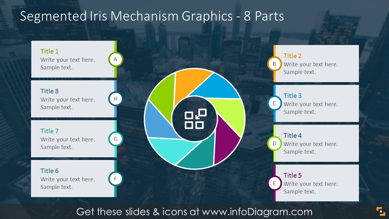 8 parts illustration by segmented iris mechanism