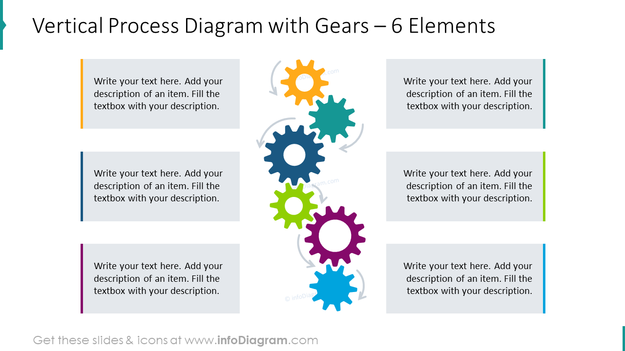Vertical process diagram with gears for 6 elements