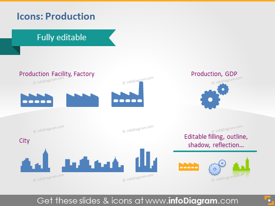 Icons Production Factory City PowerPoint clipart