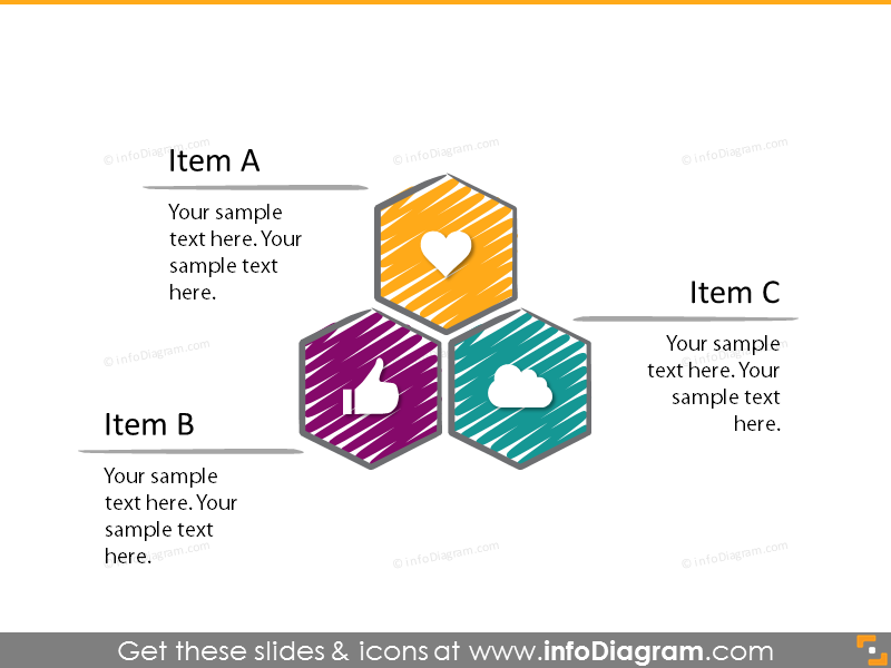 Hexagonal shapes list diagram with 3 items