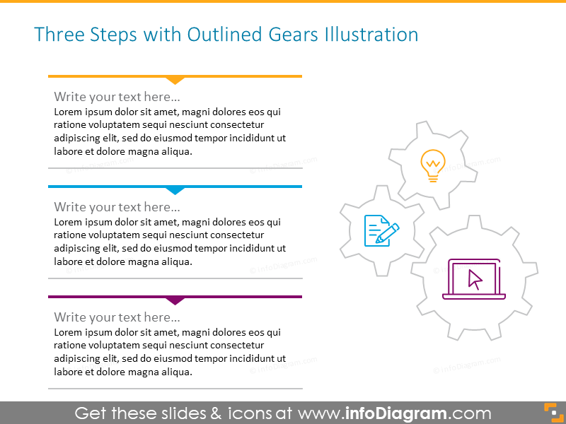 Outline gears illustration intended to illustrate three steps process