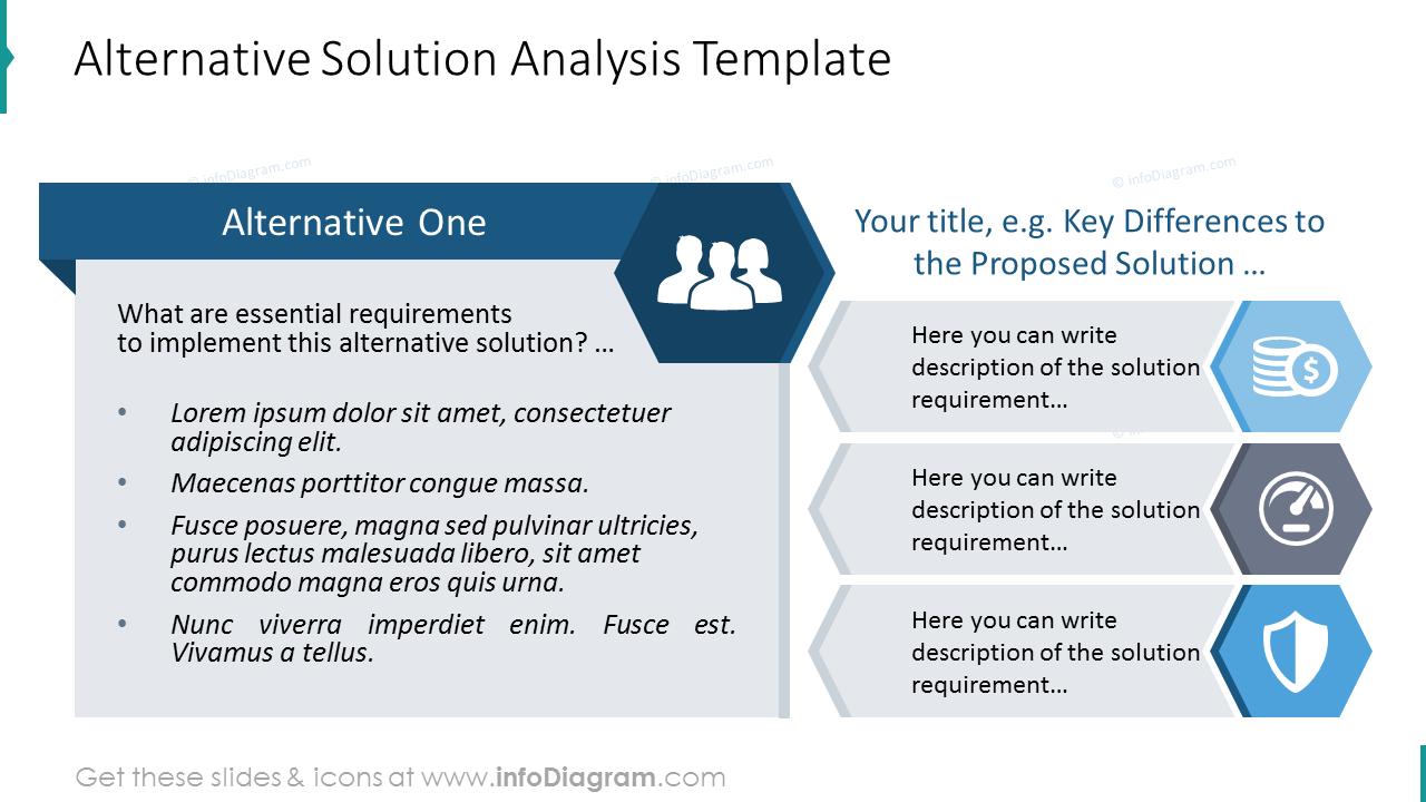 Alternative solutions analysis list diagram with bullet point description