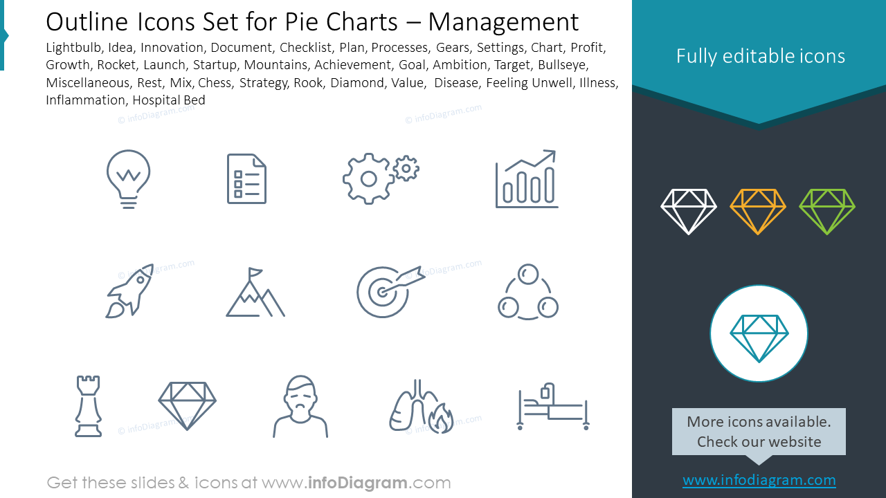 Outline Icons Set for Pie Charts – Management