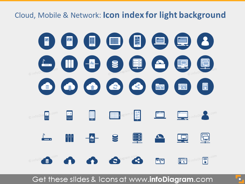 IT Cloud Mobile Network Devices icons PPTX light background