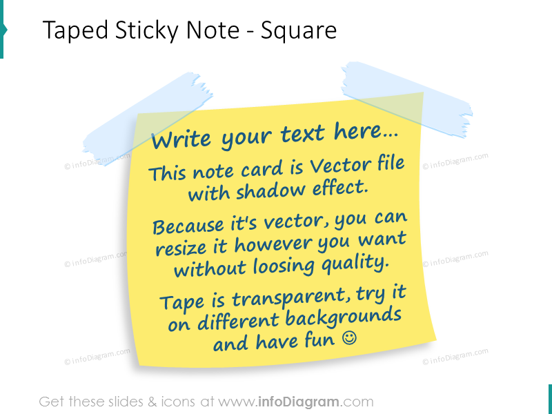 taped sticky note square powerpoint image
