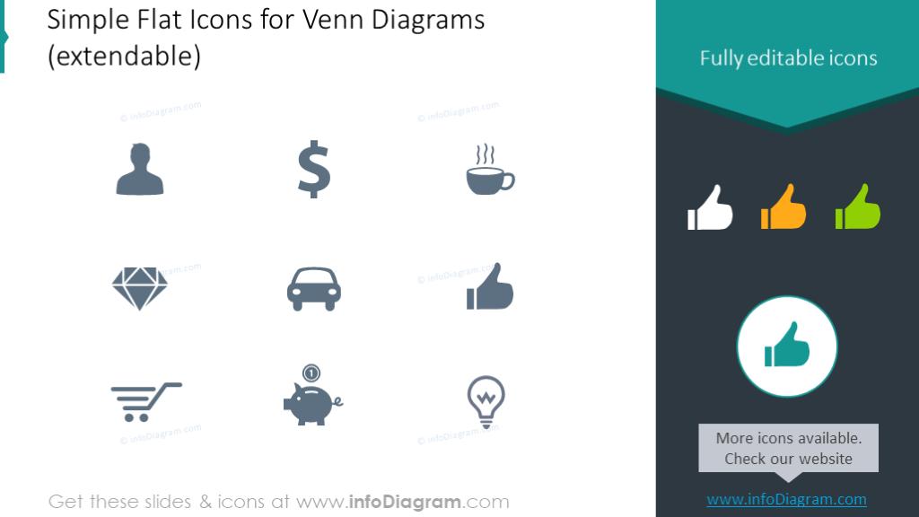 Flat icons set for Venn diagrams