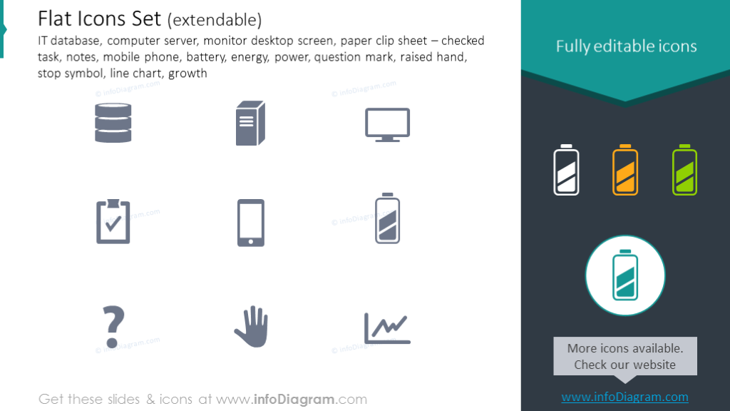 Flat Icons: IT, computer, server, phone, battery, energy, power