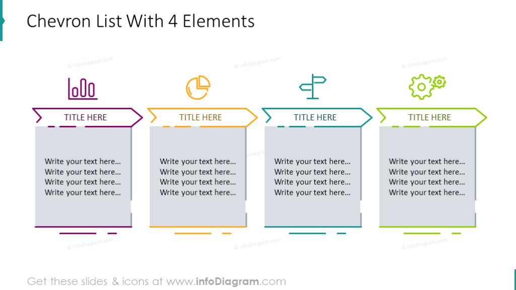 4 elements chevron list diagram
