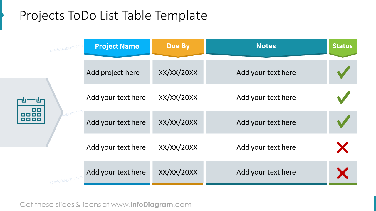 Projects ToDo List Table Template