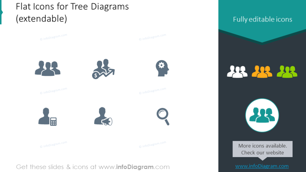 Example of the flat icons set for tree diagrams