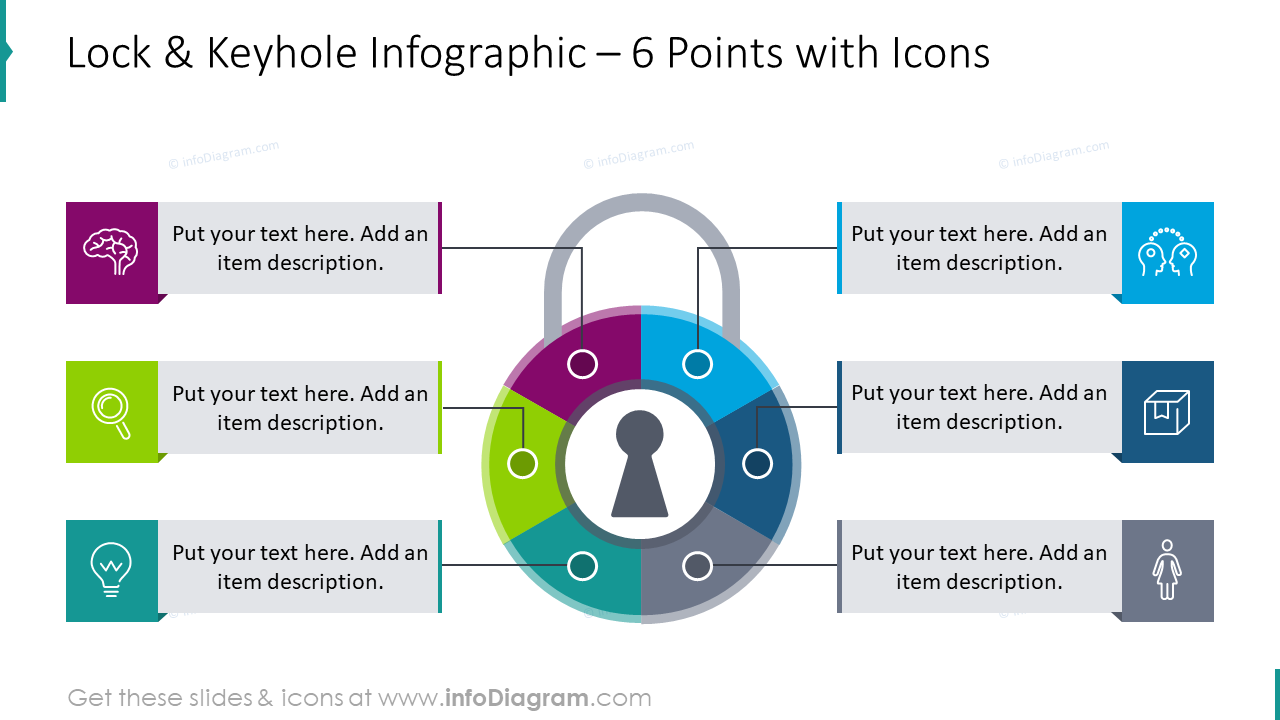 Lock and keyhole infographic for 6 points with icons