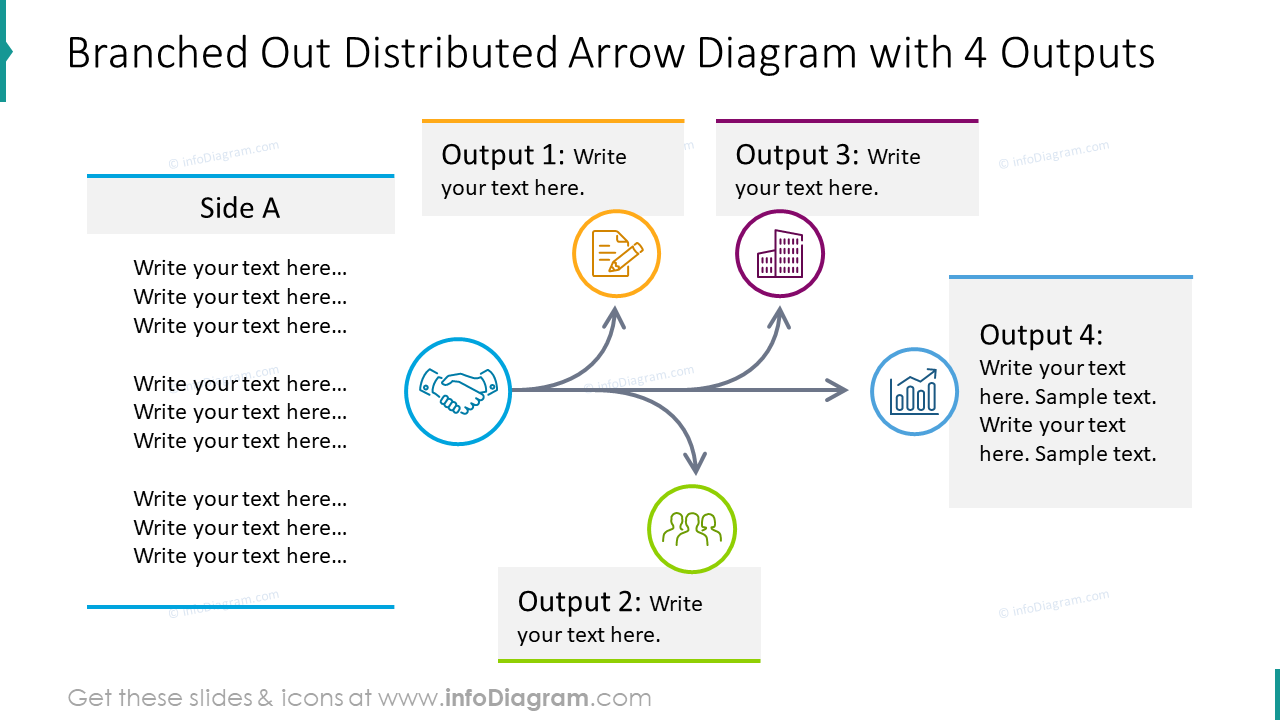 Branched out distributed arrow design with 4 outputs