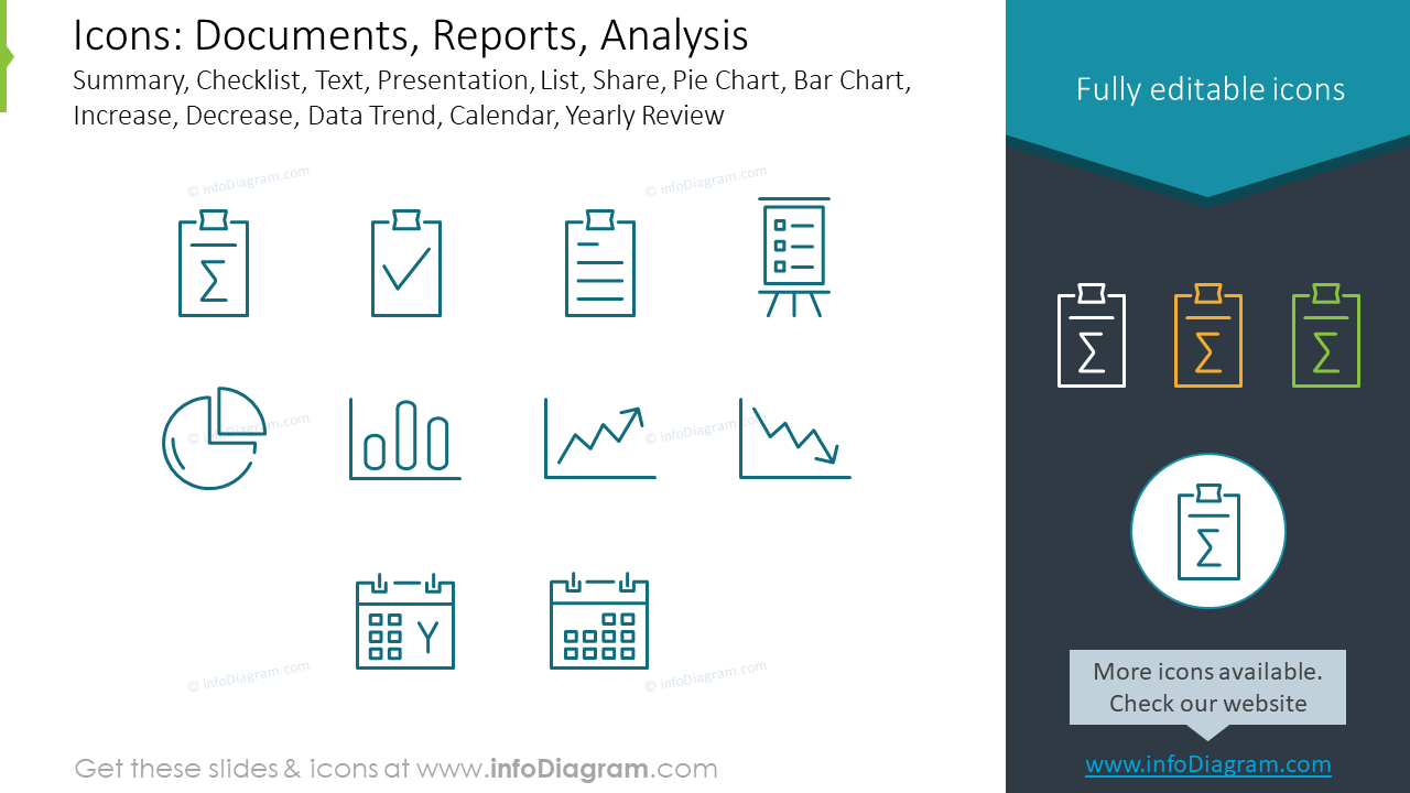 Documents, Reports and Analysis pictograms