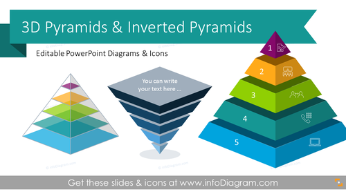 3D Stacked Pyramid Hierarchy Diagrams (PPT Template)