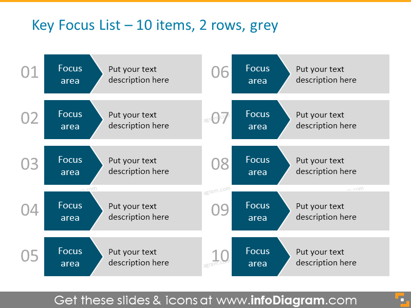 Arrows Diagram Template for 10 items in 2 columns in grey color with numbers for Powerpoint