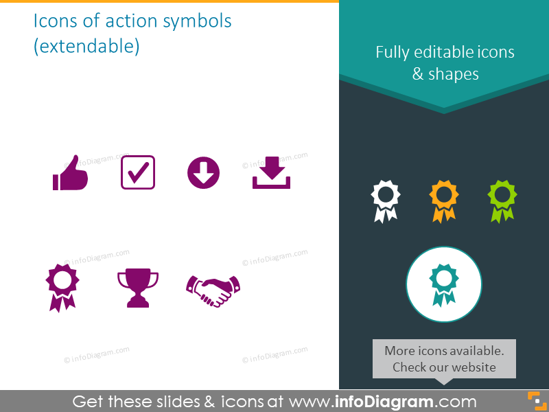 Call to action icons set - flat style
