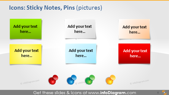 School sticky notes pins icons pptx