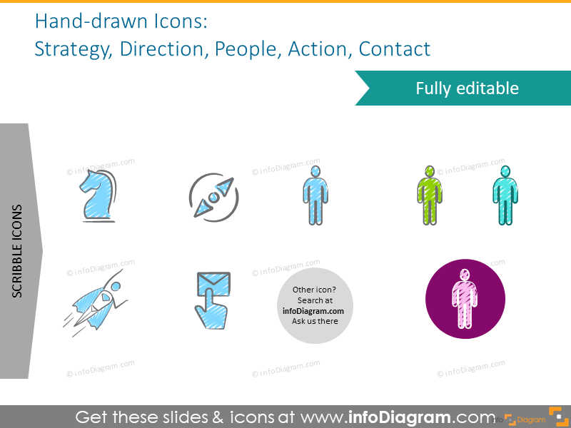 Strategy, direction, people, action, contact symbols set