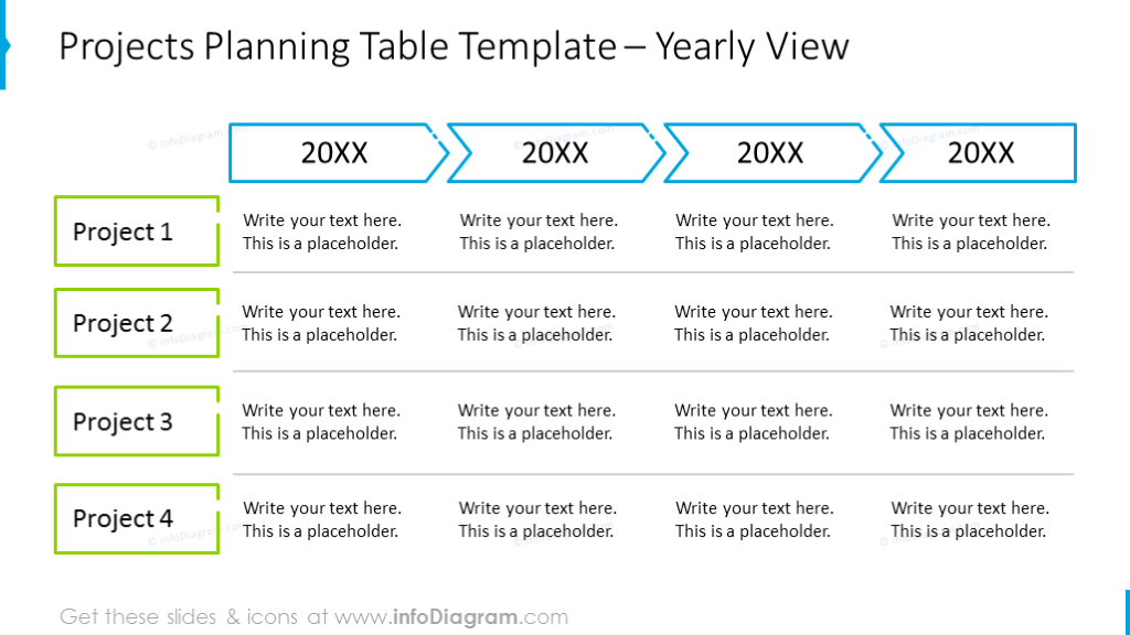 Project planning outline table with colored columns and lines