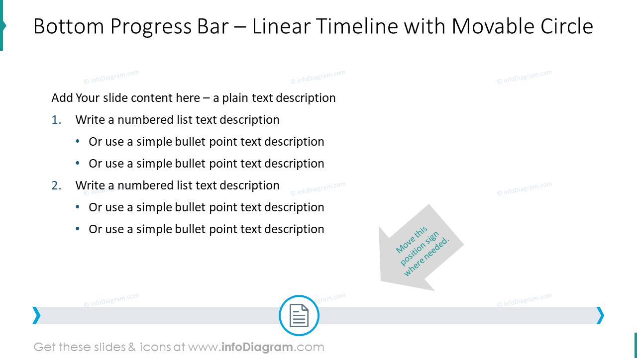 Bottom progress bar showed with movable circle