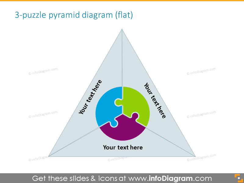 pyramide 3 puzzle text field professional gradient ppt