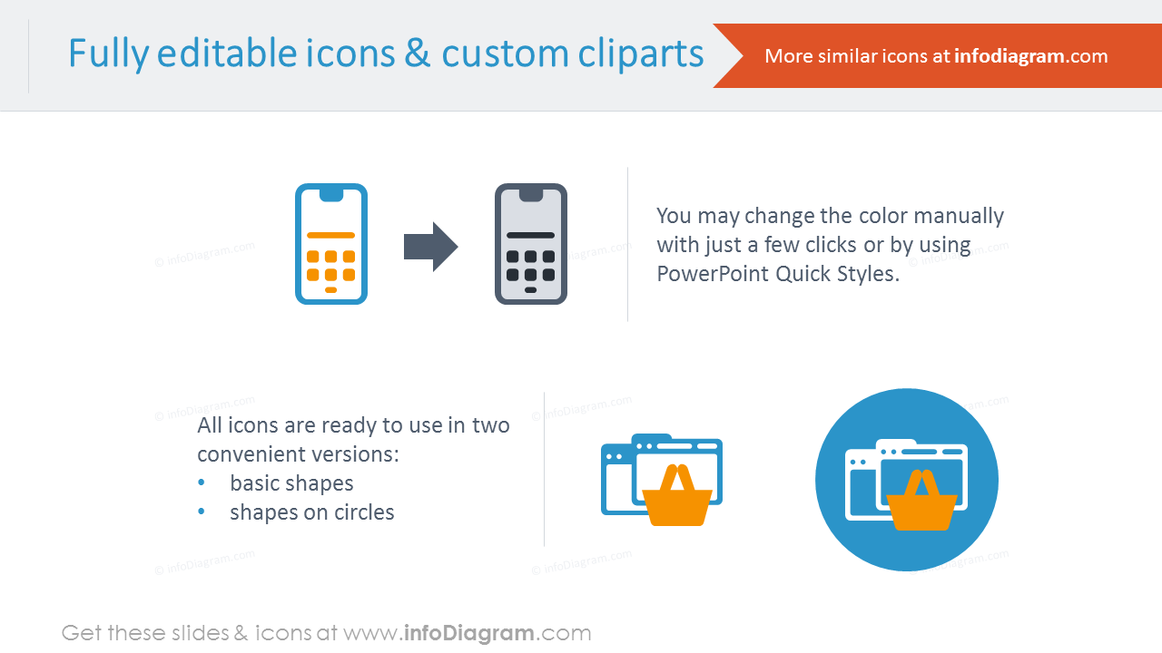 Editable icons and custom cliparts