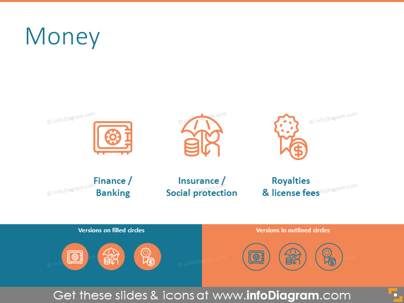 Money related icons to illustrate finance, insurance, and royalties