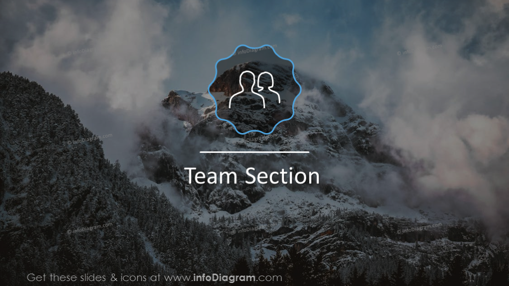 Team section slide on a picture background with icon
