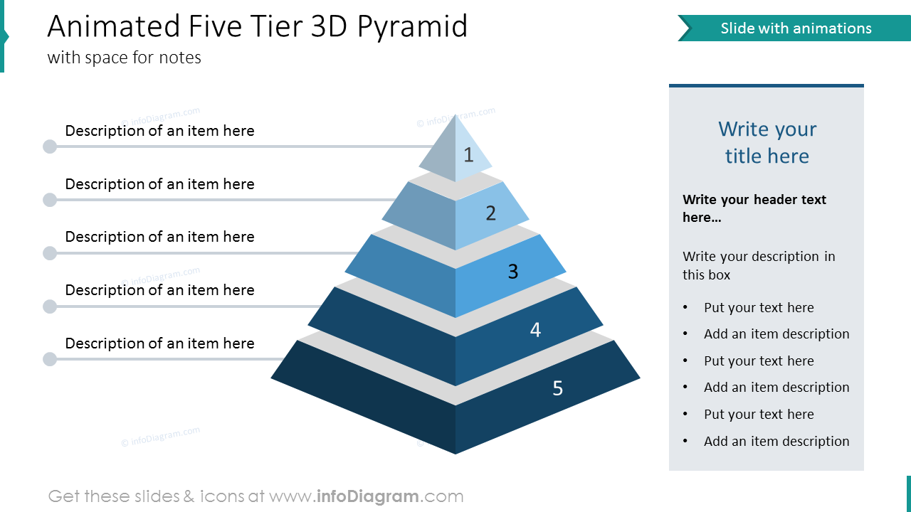 Animated five tier 3D pyramid with space for notes