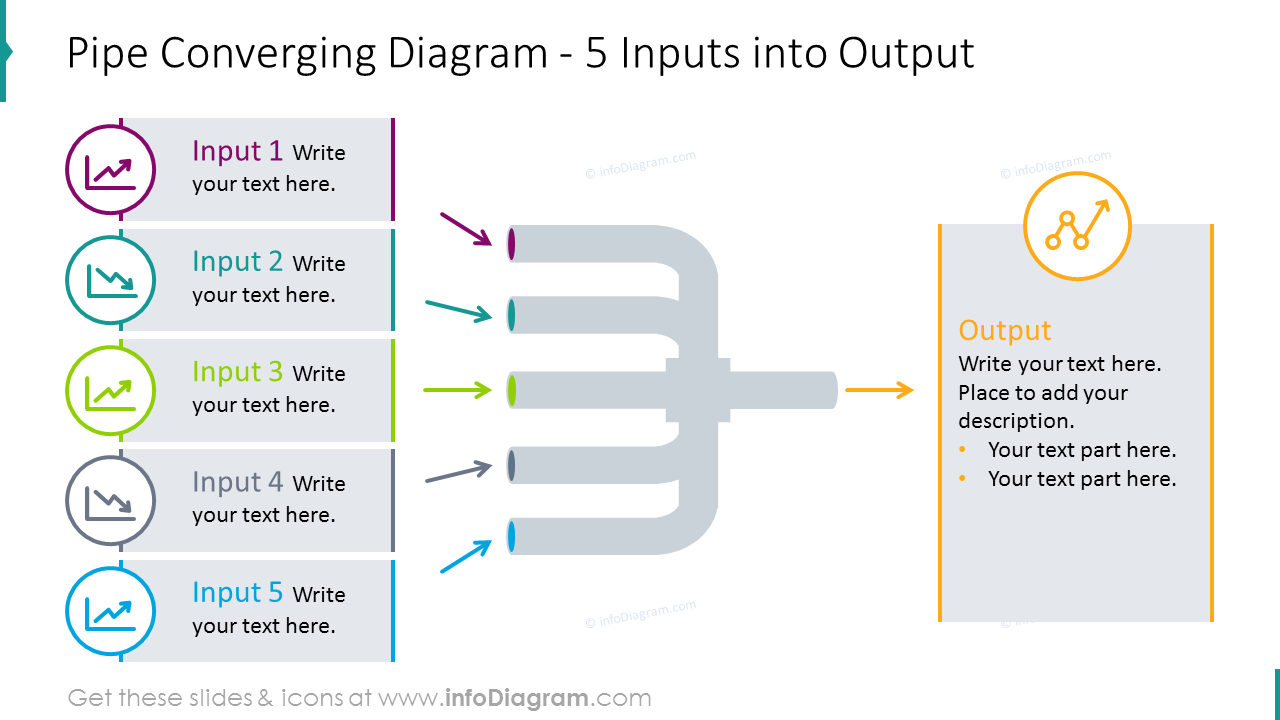 Pipe converging diagram for 5 inputs/ outputs processwith flat icons