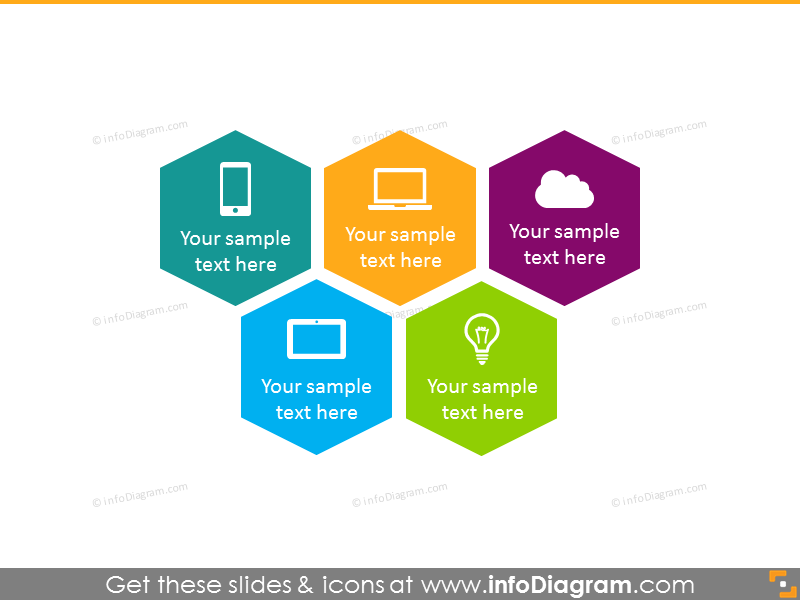 5 polygon color chart PowerPoint