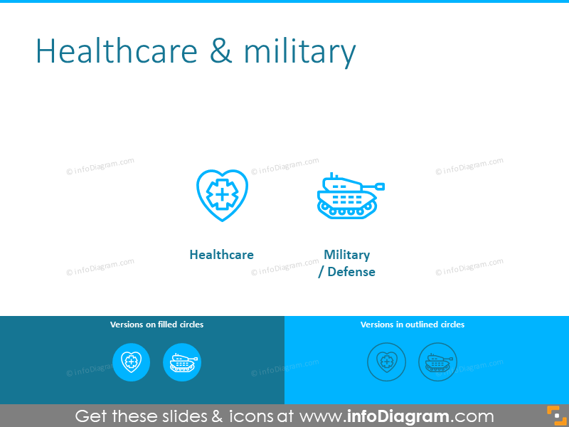 Healthcare and military icons template