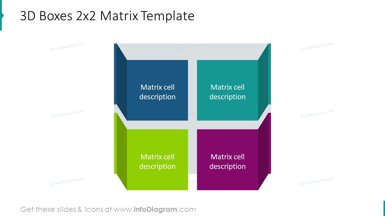 3D boxes 2x2 matrix infographics