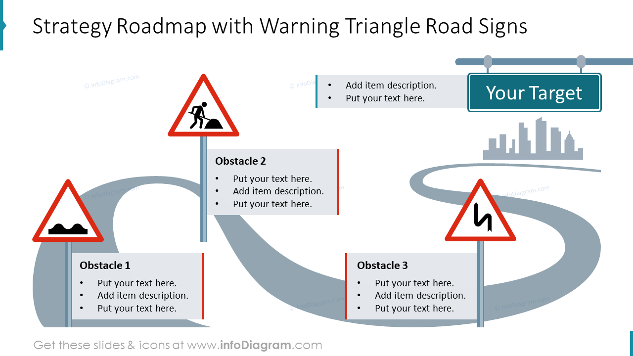 Strategy roadmap with warning triangle road signs