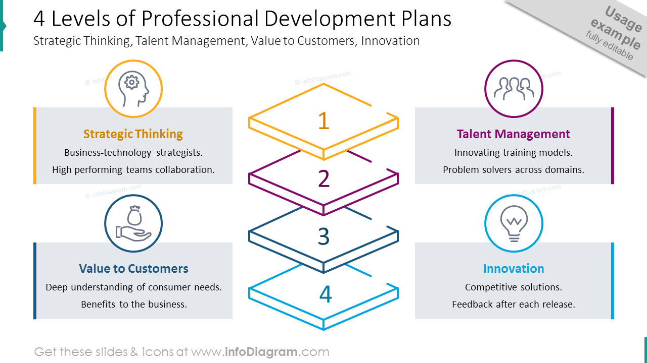 Four levels of professional development plans shown with outline graphics