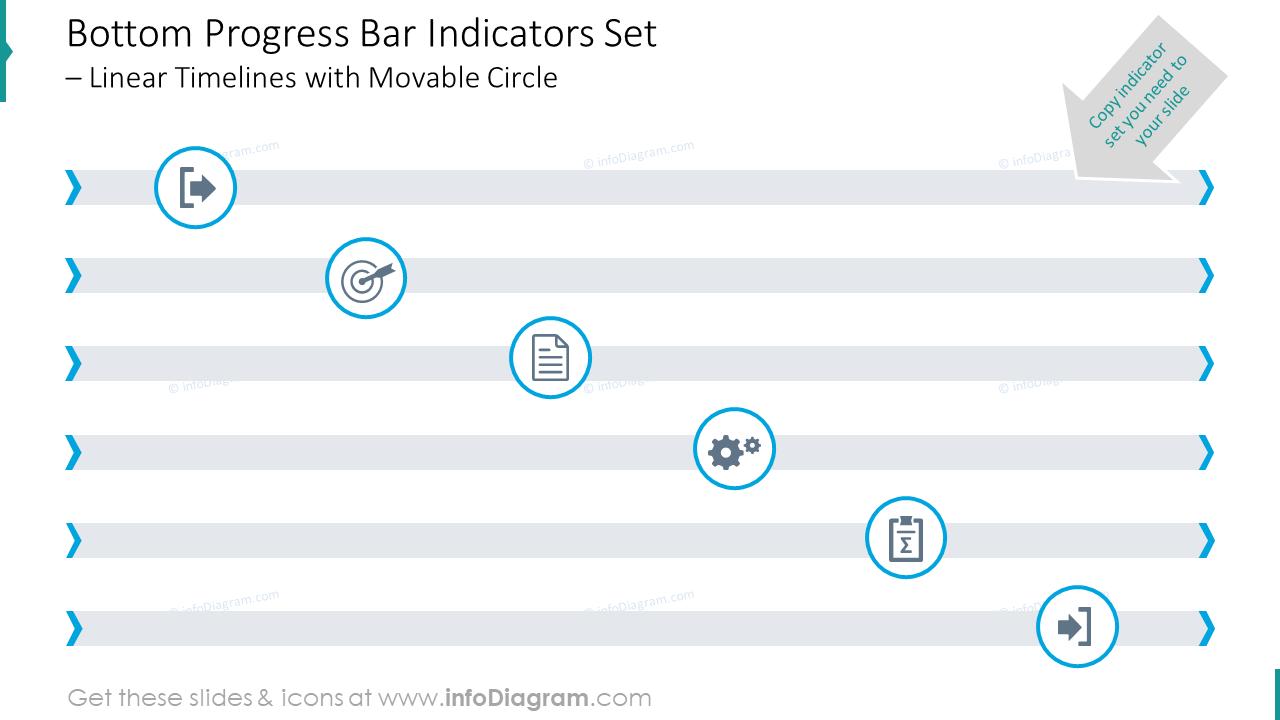 Bottom progress bar indicators set