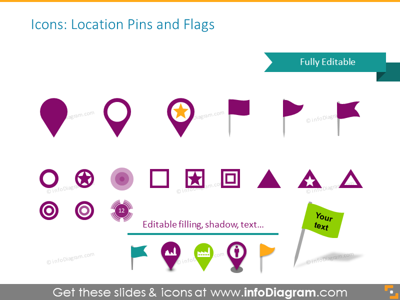 Location pins and flags icons set