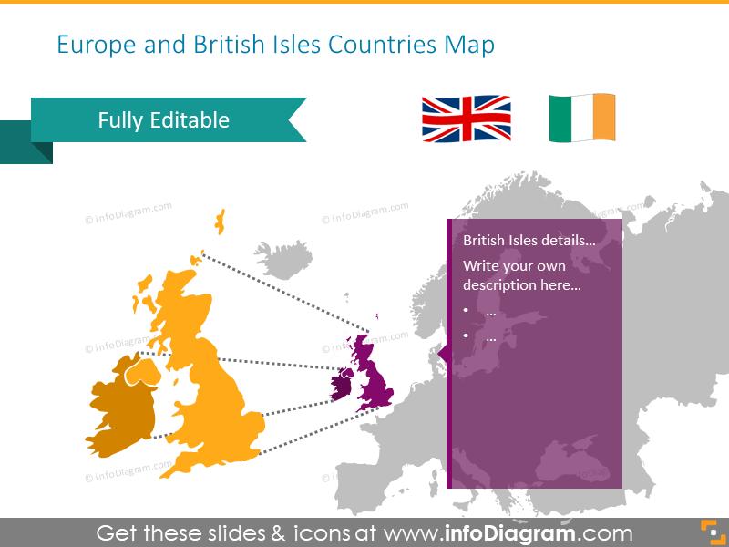 British isles zoomed map