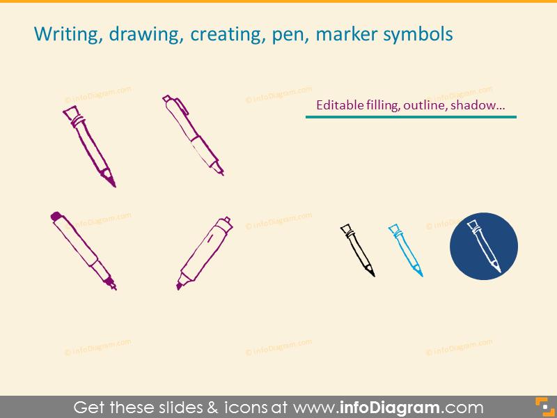 Writing, Drawing, Creating, Pen, Marker symbols