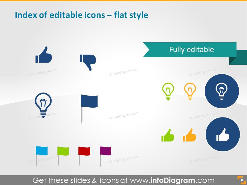 Editable icons index - flat style