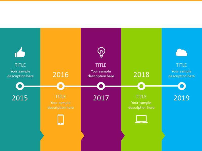 colored horizontal timeline diagram infographics