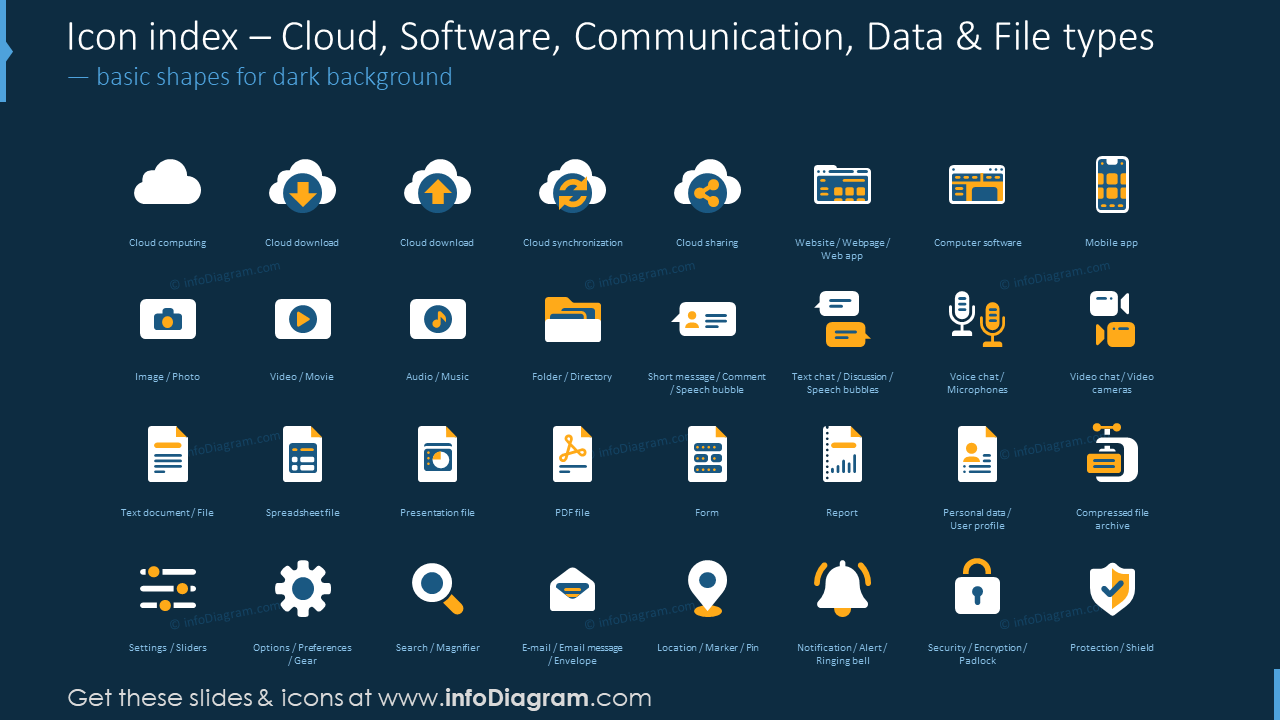 Icon index: coud, software, communication, data, file