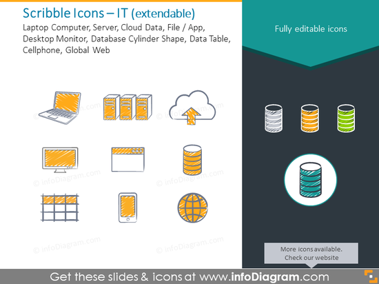 IT scribble icons: Laptop, Server, Cloud Data, Data Table, Global Web