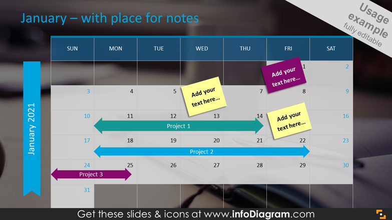 US Calendar January with place for Notes