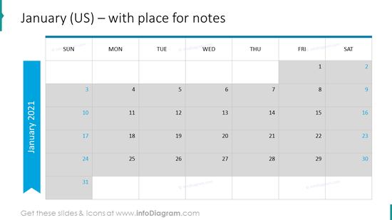 January Calendars 2020 US with notes plan