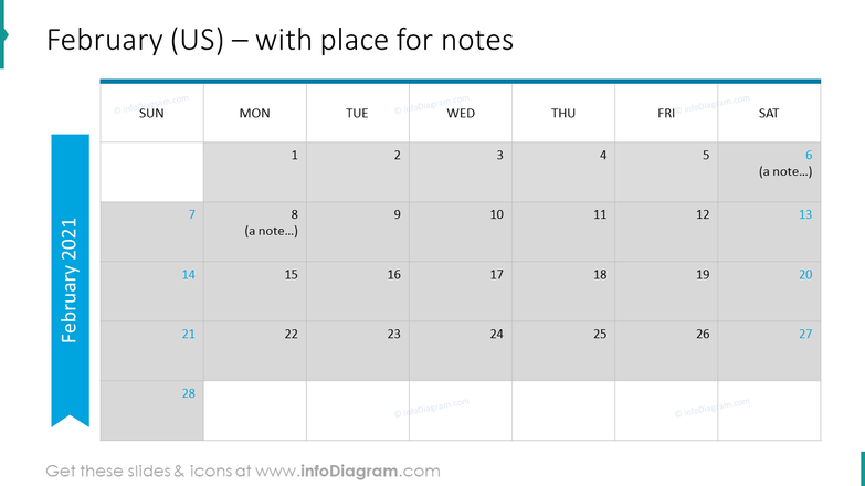 February Calendars 2020 US with notes plan