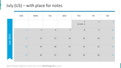 July Calendars 2020 US with notes plan