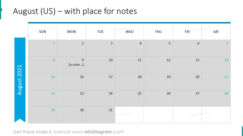 August Calendars 2020 US with notes plan