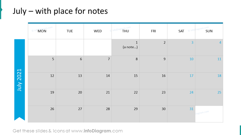 July Calendars 2020 EU with notes plan