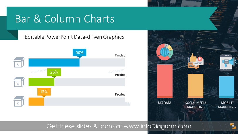 Bar and Column Chart Data-driven Graphics (PPT Template)